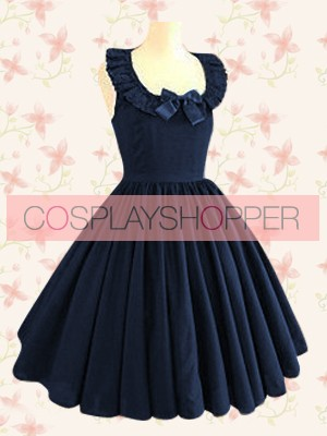 Dark Blue Sleeveless Jewel Neck Ruffles Classic Lolita Dress