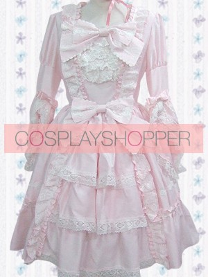 Light Pink Long Sleeves Sweet Classic Bow Lace Ruffles Lolita Dress