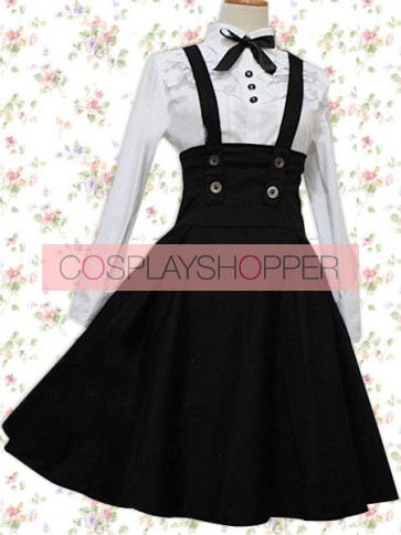 White Long Sleeves Blouse And Black Classic Lolita Skirt