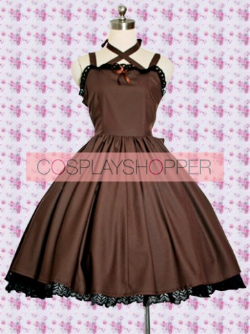 Brown Sleeveless Lace Classic Lolita Dress