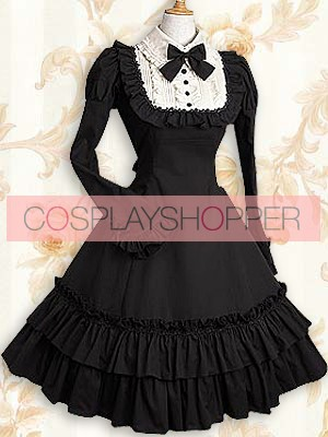 Black Long Sleeves Ruffle Bow Classic Lolita Dress
