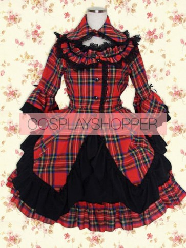 Black Red Check Long Sleeves Classic School Lolita Dress