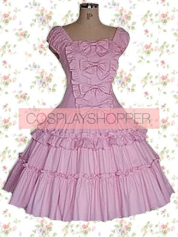 Fuchsia Dark Pink Purple Short Sleeves Ruffles Classic Bow Sweet Lolita Dress