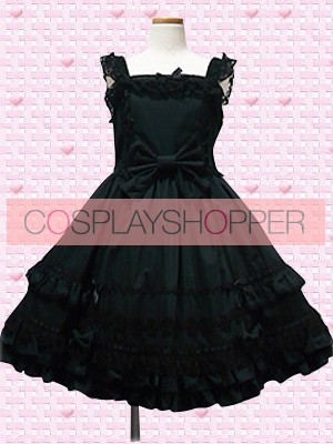 Cute Black Sleeveless Bow Lolita Dress