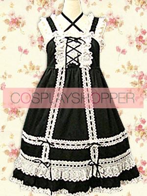 Black & White Sleeveless Bow Classic Lolita Dress