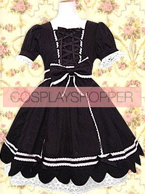 Black Short Sleeves Front Ties Classic Lolita Dress