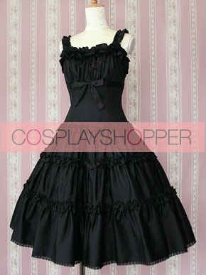 Black Sleeveless Ruffles Classic Lolita Dress