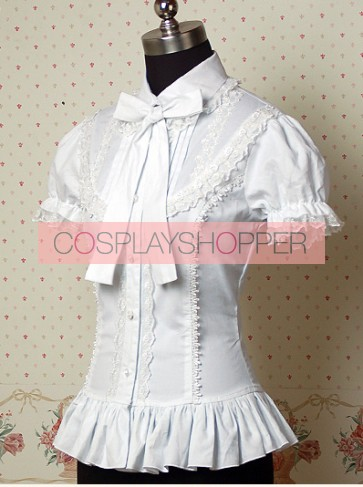 White Puff Short Sleeves Lolita Shirt