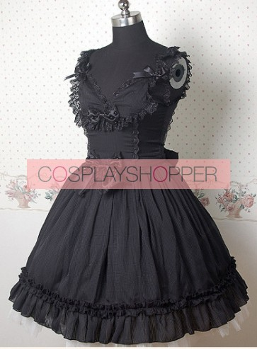 Black Sleeveless V-neck Frills Bow Lolita Dress