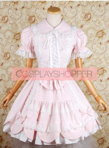 Light Pink Puff Short Sleeves Bow Lolita Dress