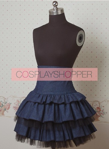 Denim Jean Blue Double Layer Cake Lolita Skirt