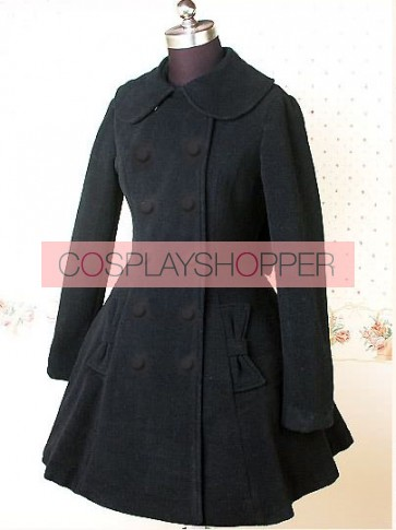Black Long Sleeves Bow Graceful Lolita Coat