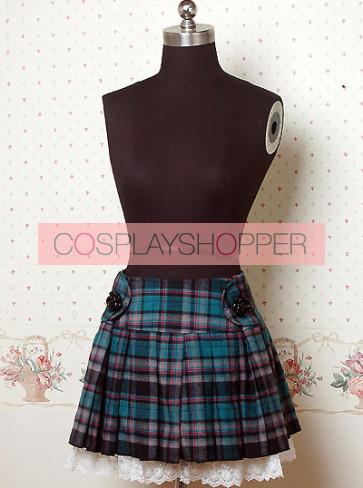 Blue Check Pattern Pleated Lolita Skirt