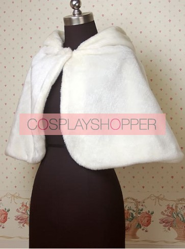 Cashmere White Rabit Pattern Lovely Lolita Cape