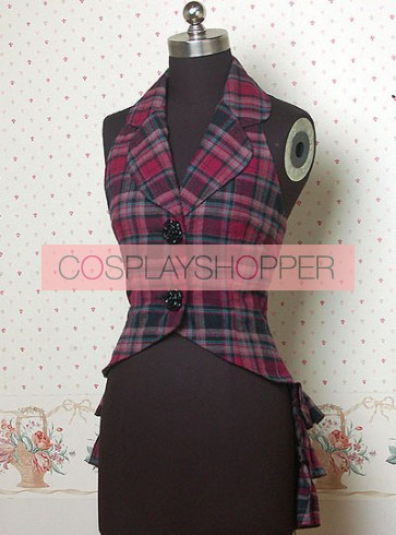 Thick Hot Check Pattern Lolita Weskit