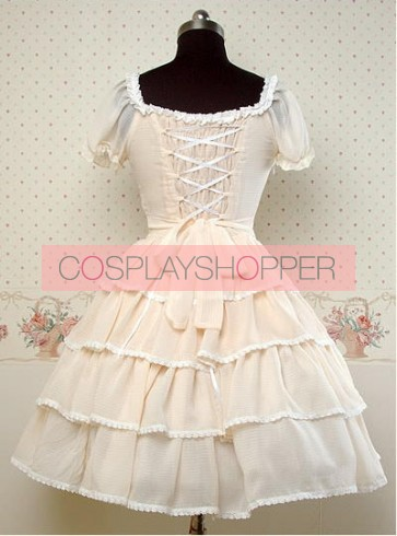 Chiffon Beige Short Sleeves Ruffle Bow Lolita Dress