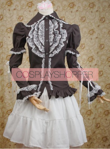 Black Lotus Leaf Long Sleeves Shirt and White Lolita Skirt
