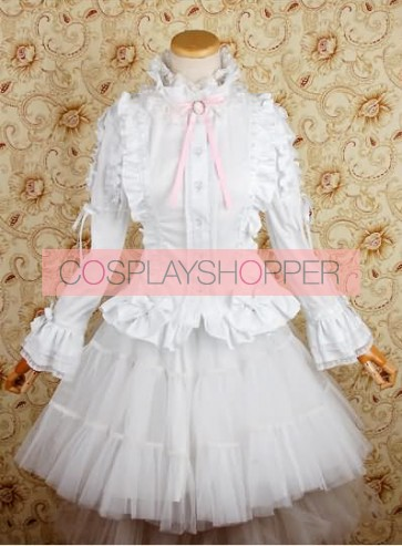 Chiffon White Lolita Skirt Long Sleeves Shirt