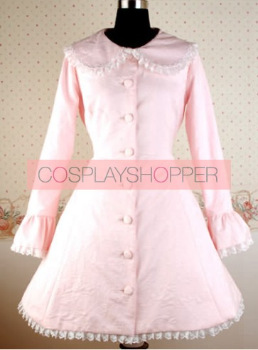Pink Long Sleeves Round Collar Bow Lolita Coat