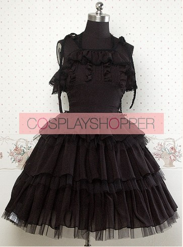 Chiffon Black Sleeveless Ruffles Lolita Dress