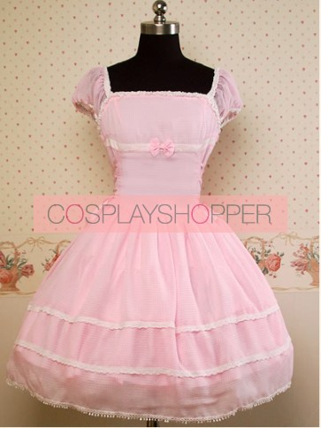 Chiffon Lovely Pink Short Sleeves Bow Lolita Dress