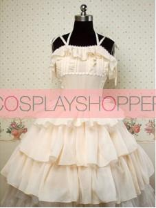 Chiffon Beige Sleeveless Cake Lolita Dress