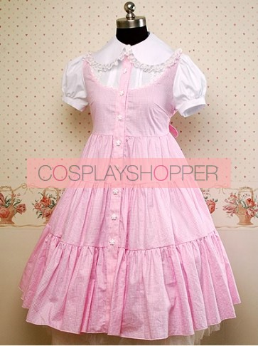 Pink and White Puff Short Sleeves Bow Lolita Dress