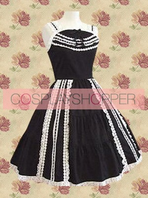 Black Sleeveless Gothic Spaghetti Pintuck Gothic Lolita Dress