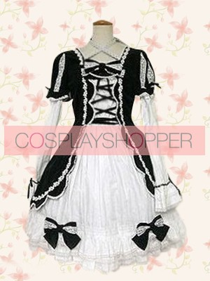 Black and White Short Sleeves Cross-Strap Bow Gothic Lolita Dress