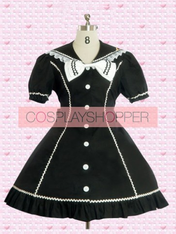 Black Short Sleeves Gothic Bow Lolita Dress With White Buttons