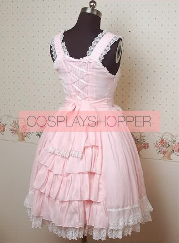 Pink Sleeveless Pompon Sweet Lolita Dress
