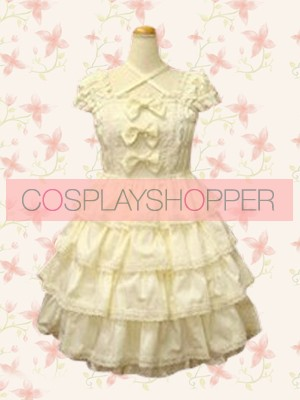 White Sleeveless Bow Lace Sweet Lolita Dress