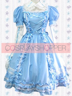 Blue Long Sleeves Sweet Pintuck Lace Sweet Lolita Dress