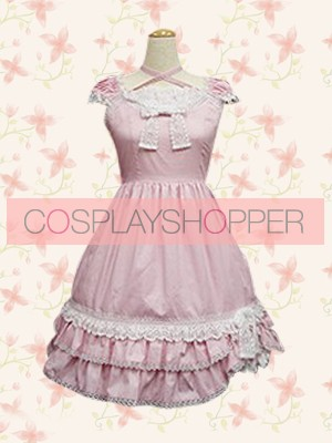 Pink Short Sleeves Sweet Lace Bow Ruffles Lolita Dress