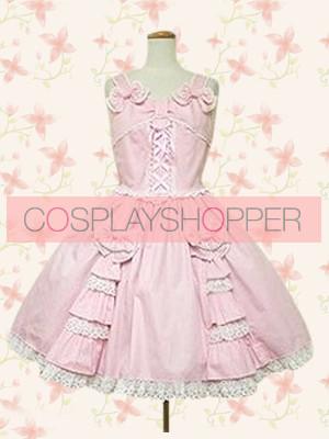 Cute Pink Sleeveless Bow Lace Lolita Dress