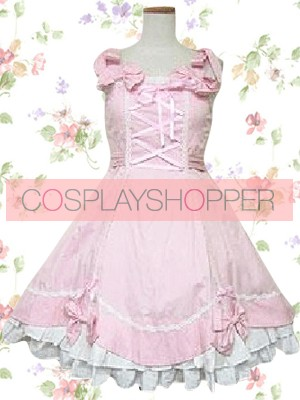 Pink Sleeveless Bow Decoration Sweet Lolita Dress