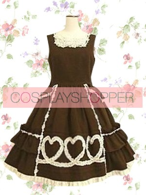 Chocolate Short Sleeves Square Neck Gothic Sweetheart Lace Sweet Lolita Dress
