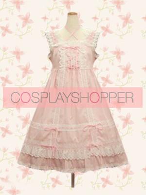 Pink Sleeveless Sweet Bow Lace Lolita Dress