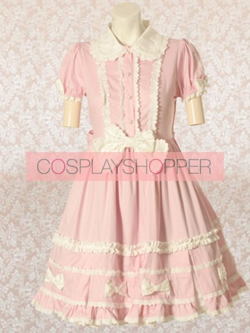 Pink Short Sleeves Bow Sweet Lolita Dress