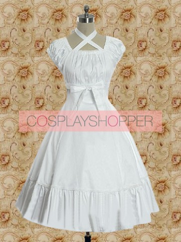 White Short Sleeves Empire Waist Sweet Lolita Dress