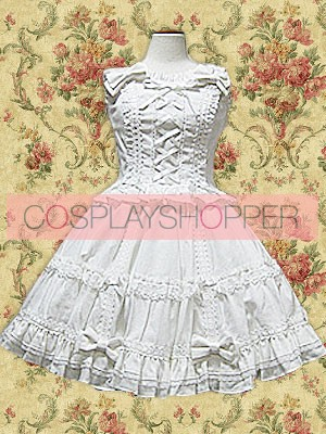 White Sleeveless Front Tie Sweet Lolita Blouse And Skirt