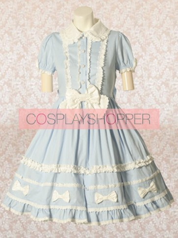 Light Blue Short Sleeves Round Collar Bow Sweet Lolita Dress