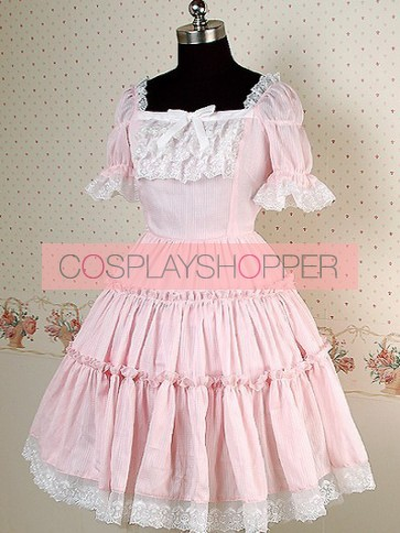 Pink Puff Short Sleeves Lace Sweet Lolita Dress