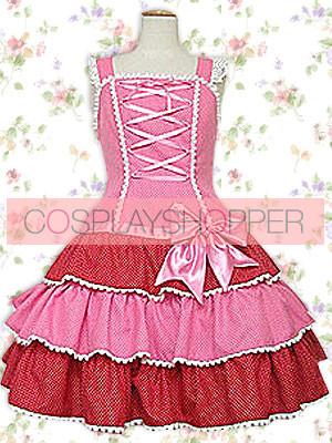 Pink Sleeveless Bow Bandage Ruffles Sweet Lolita Dress