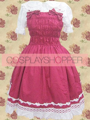Fuchsia and White Short Sleeves Bow Netting Lace Sweet Lolita Dress