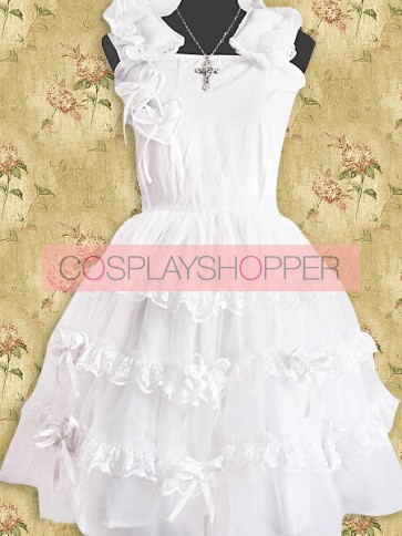 White Sleeveless Ruffles Sweet Lolita Dress