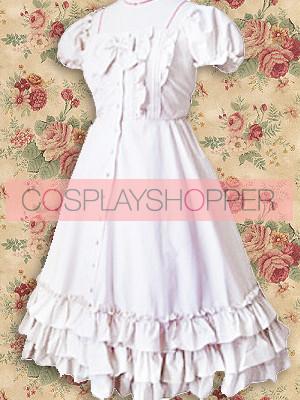 White Short Sleeves Ruffle Sweet Lolita Dress
