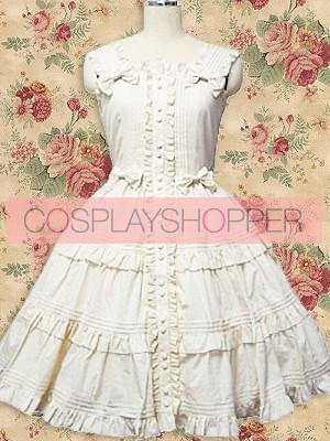 White Sleeveless Bow Ruffle Sweet Lolita Dress