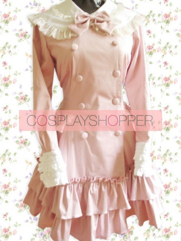 Pink Long Sleeves Double-Breasted Bow Sweet Lolita Dress