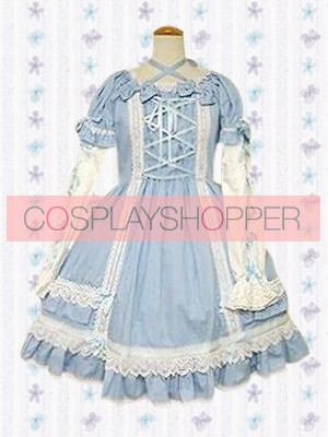 Blue Short Sleeves Cross-Strap Lace Sweet Lolita Dress